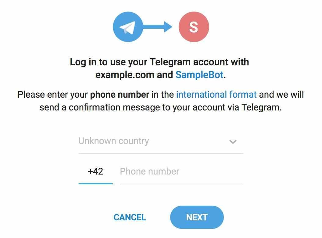 Авторизация через телеграмм