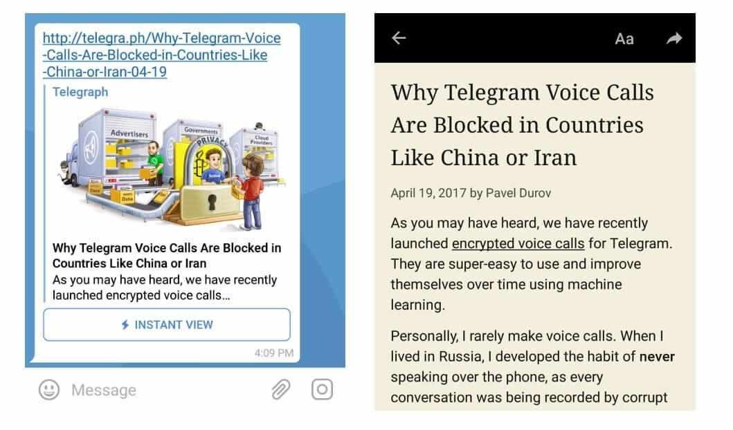 картинка: instant view в telegram