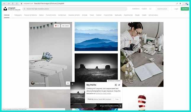 Англоязычный сайт бесплатных фотостоков Unsplash