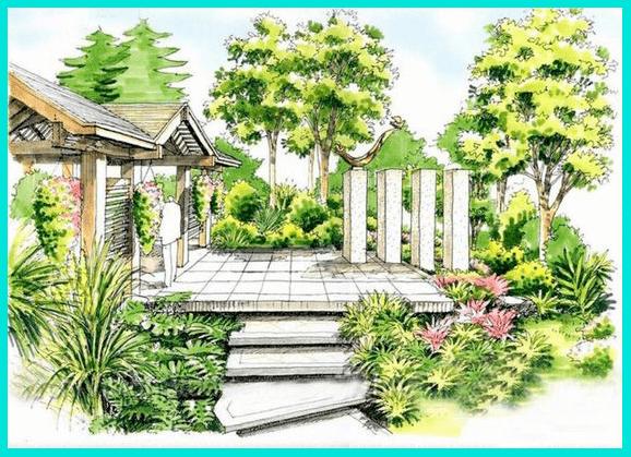 Ландшафтный скетчинг - это эскиза дизайна сада и т.д.