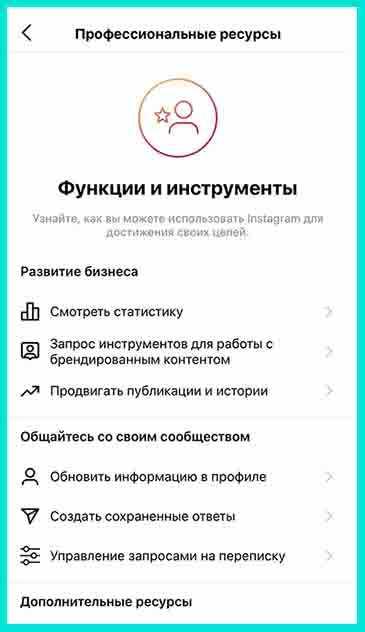 Обновление в Инстаграм - панель Профессиональные ресурсы