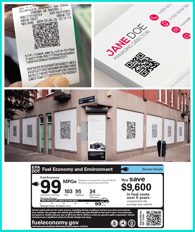 QR-код на чеке, ценнике, визитке, фасаде