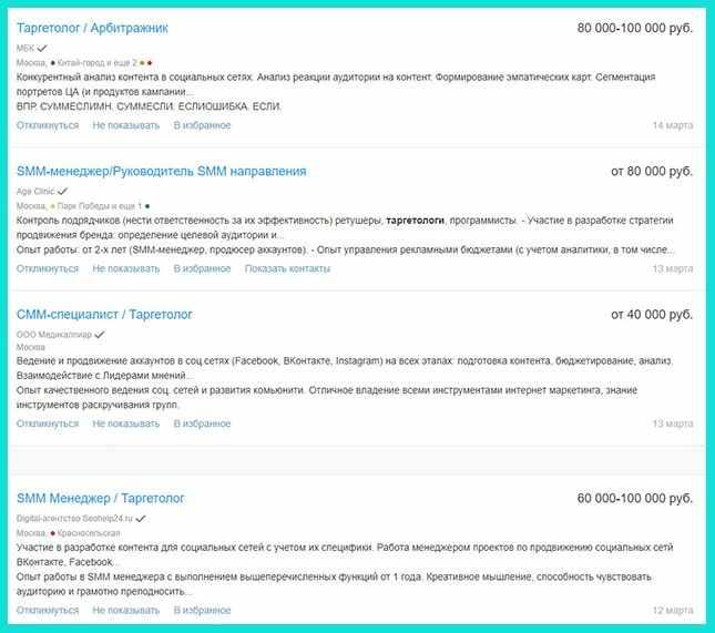 Сколько зарабатывает таргетолог - примеры на HH.ru