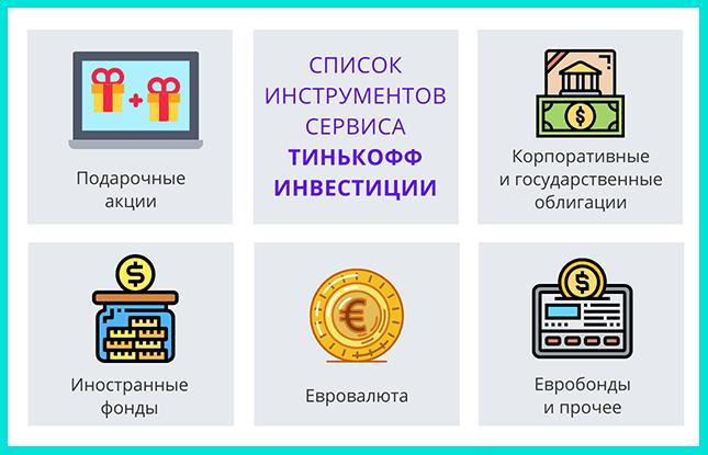 Список инструментов Тинькофф инвестиции