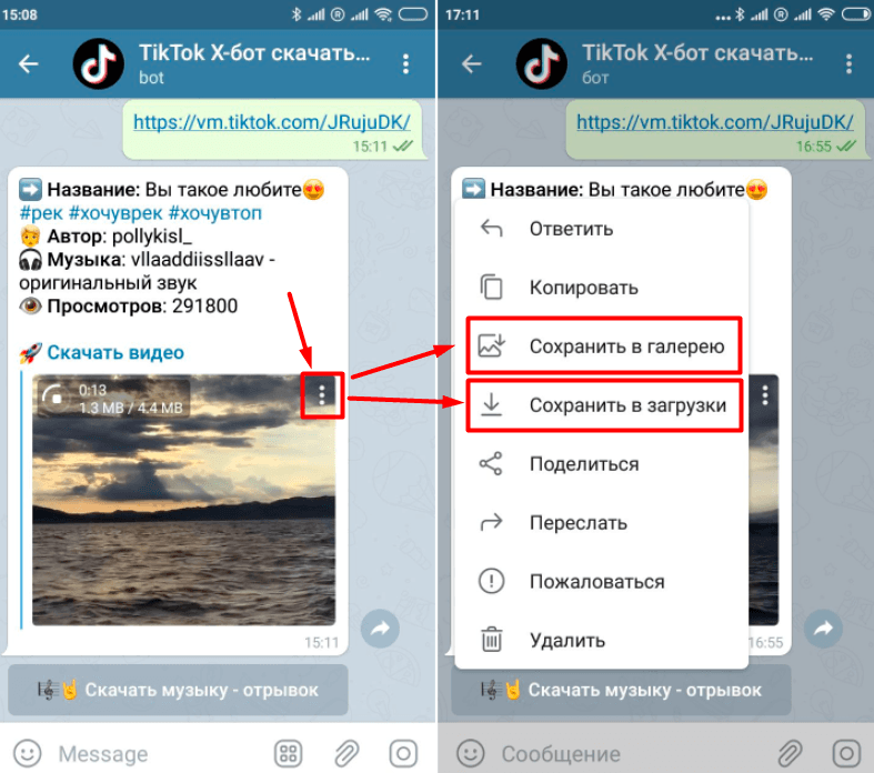 Сохранение видеозаписи через Telegram