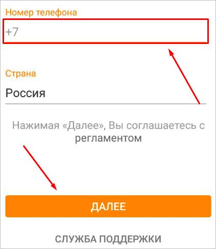 Ввод телефона в приложении