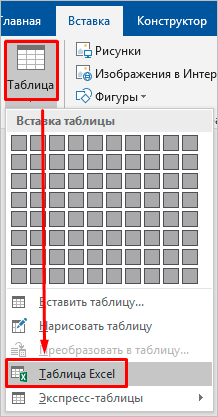 Добавление таблицы Excel в Word