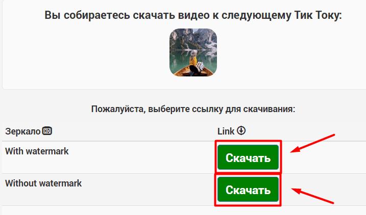 Варианты скачивания на ssstiktok.io