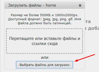 Выбор файлов для зарузки