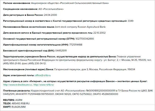 Реквизиты РСХБ