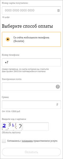 Форма для заполнения в Билайн