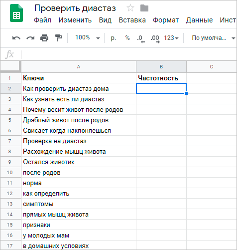 Таблица ключевых слов