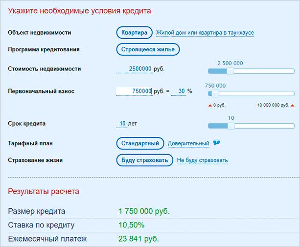 Расчет параметров ипотеки