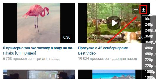 Сохранение ролика из видеокаталога