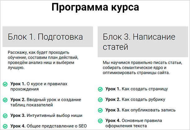 Программа курса Василия Блинова