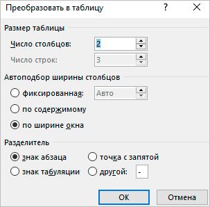 Пример заполнения параметров