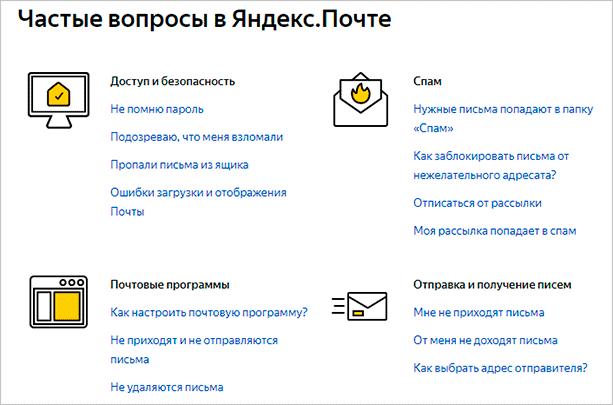 Частые вопросы в Яндекс.Почте