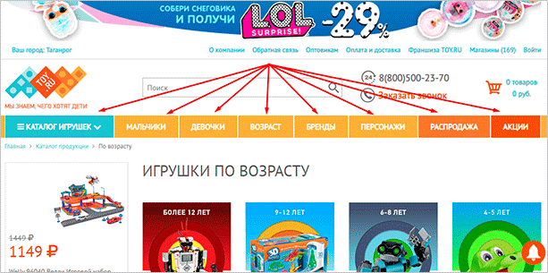 Интерфейс toy.ru