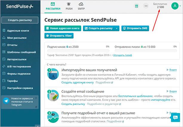Панель управления SendPulse