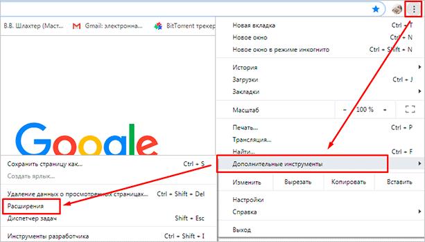 Меню в Google Chrome